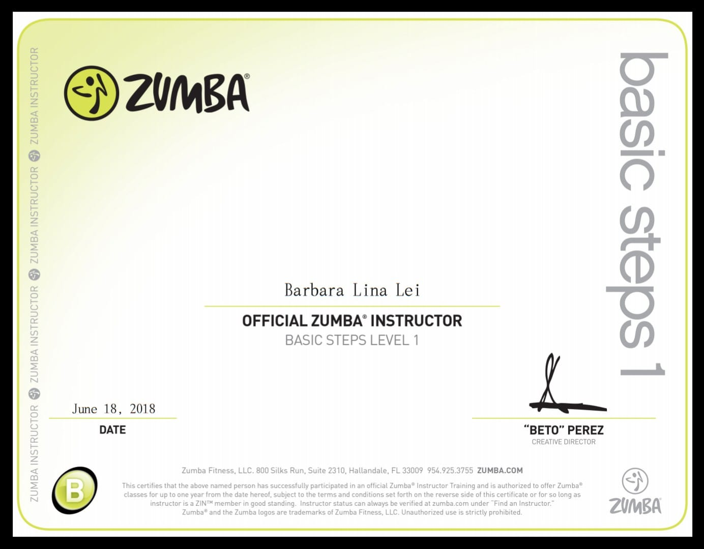 I Did It Oh Yay I Am Now A Licensed Zumba Instructor And